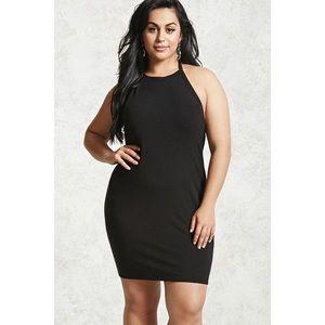 ➕ Forever 21 Solid Black Halter Dress